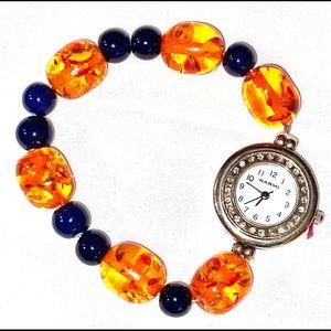 NWT- Narmi Rhinestones, Amber & Navy Beaded Watch